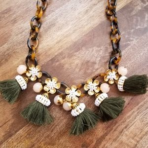 J. Crew Floral tortoise and green tassel necklace